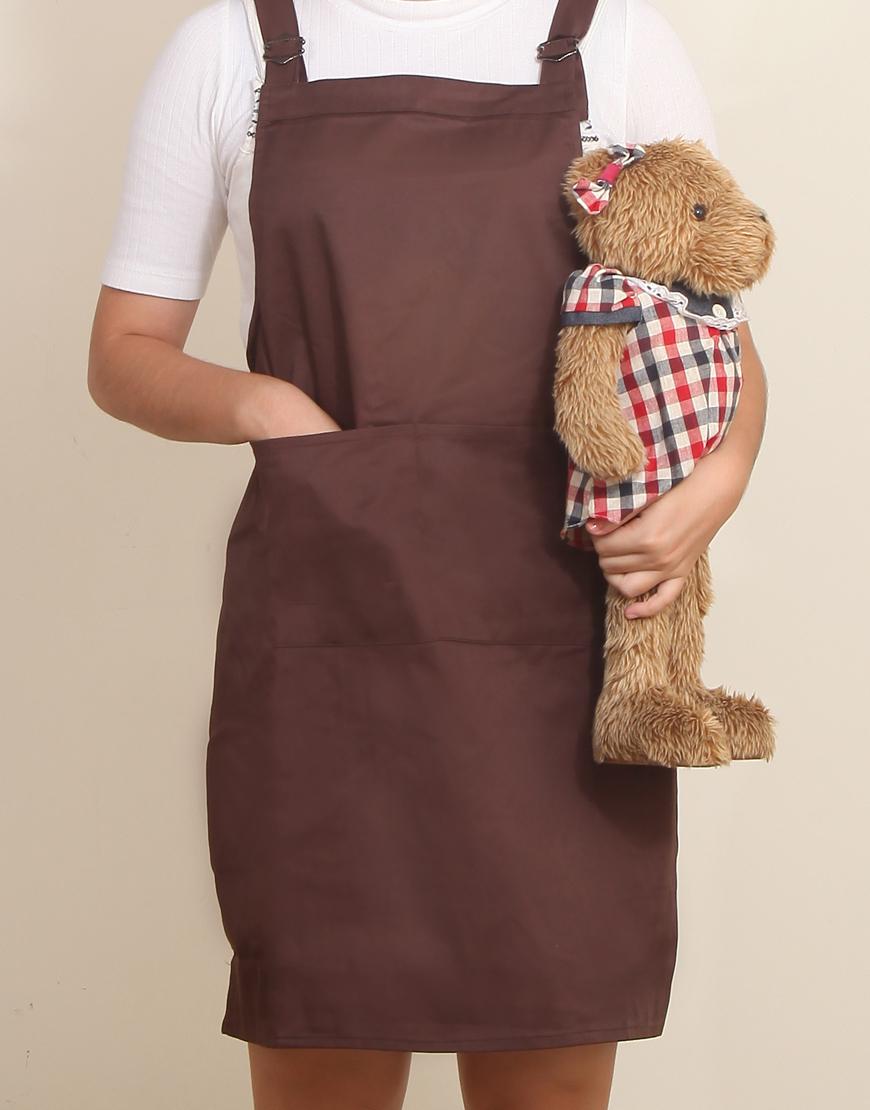 混棉布背帶式雙扣可調二口袋圍裙 - 咖啡色