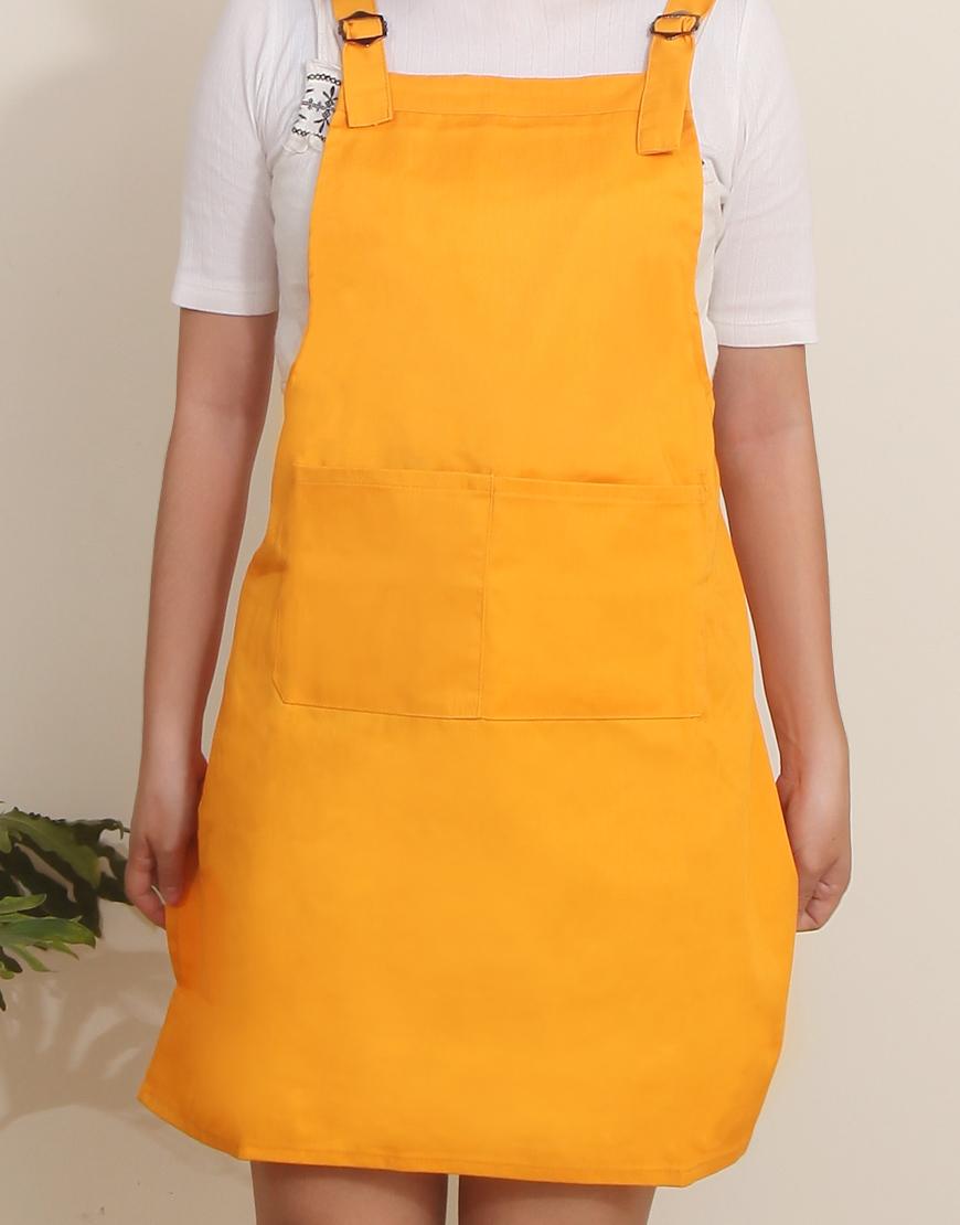 混棉布背帶式雙扣可調二口袋圍裙 - 橘色