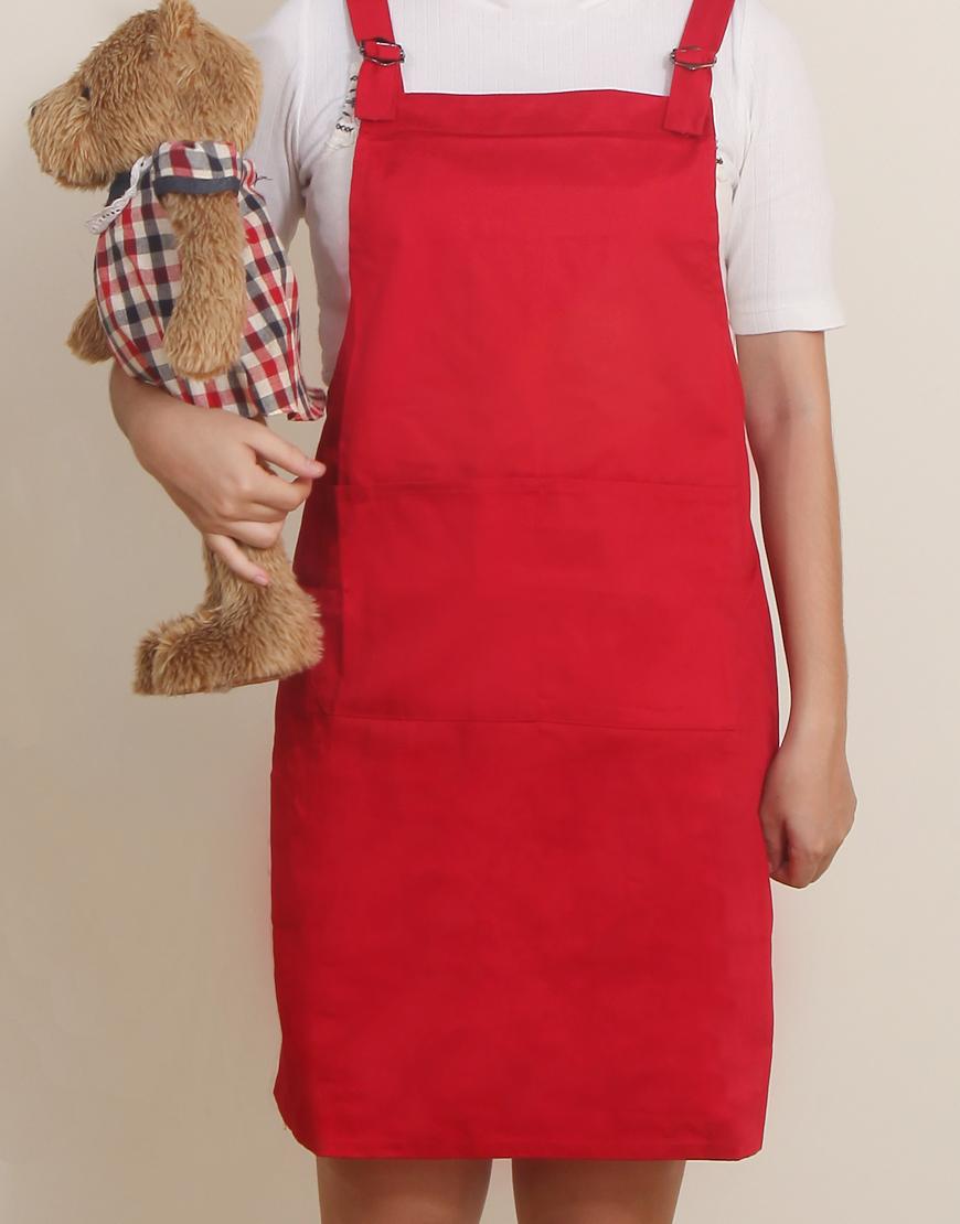 混棉布背帶式雙扣可調二口袋圍裙 - 紅色