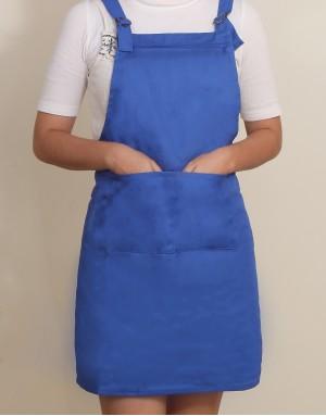 混棉布背帶式雙扣可調二口袋圍裙 - 寶藍色