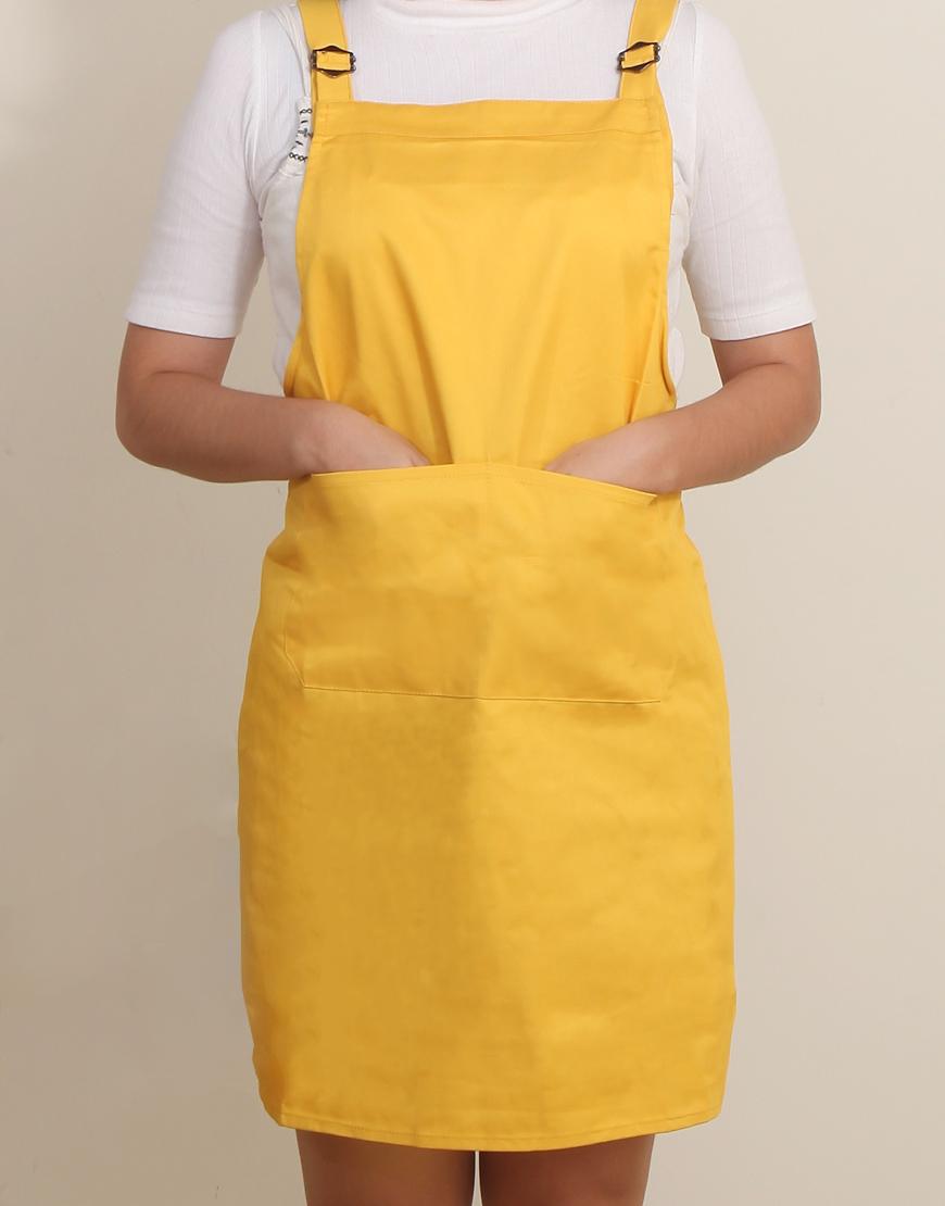 混棉布背帶式雙扣可調二口袋圍裙 - 黃色