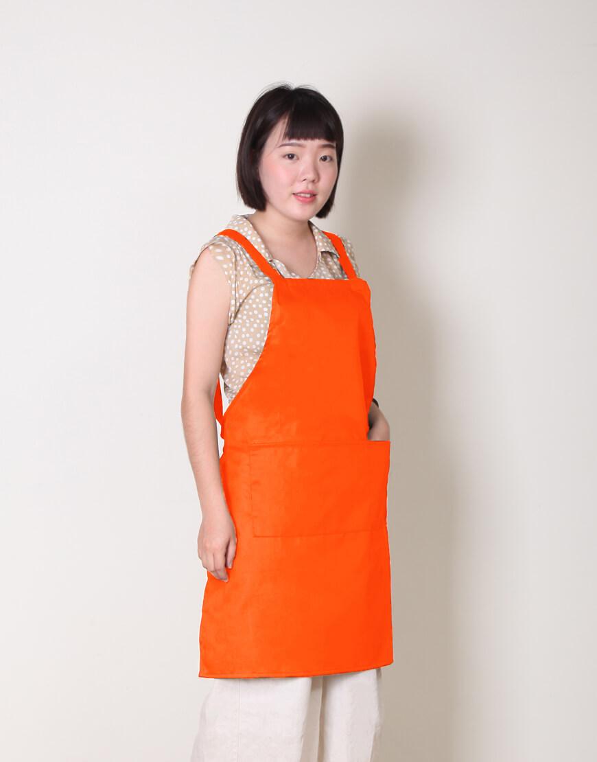 混紡布背帶式三口袋圍裙 - 中 - 4色