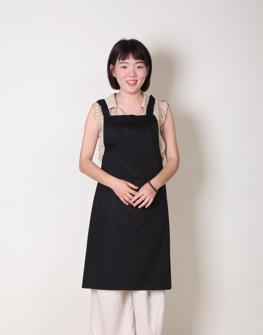 I 缺貨 I 純棉雙口袋背帶式圍裙 - 黑色