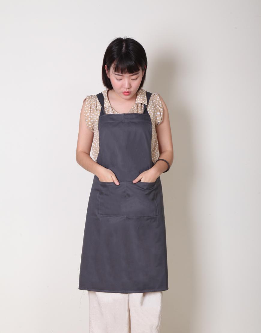 I 缺貨 I 純棉背帶式三口袋圍裙 - 灰色