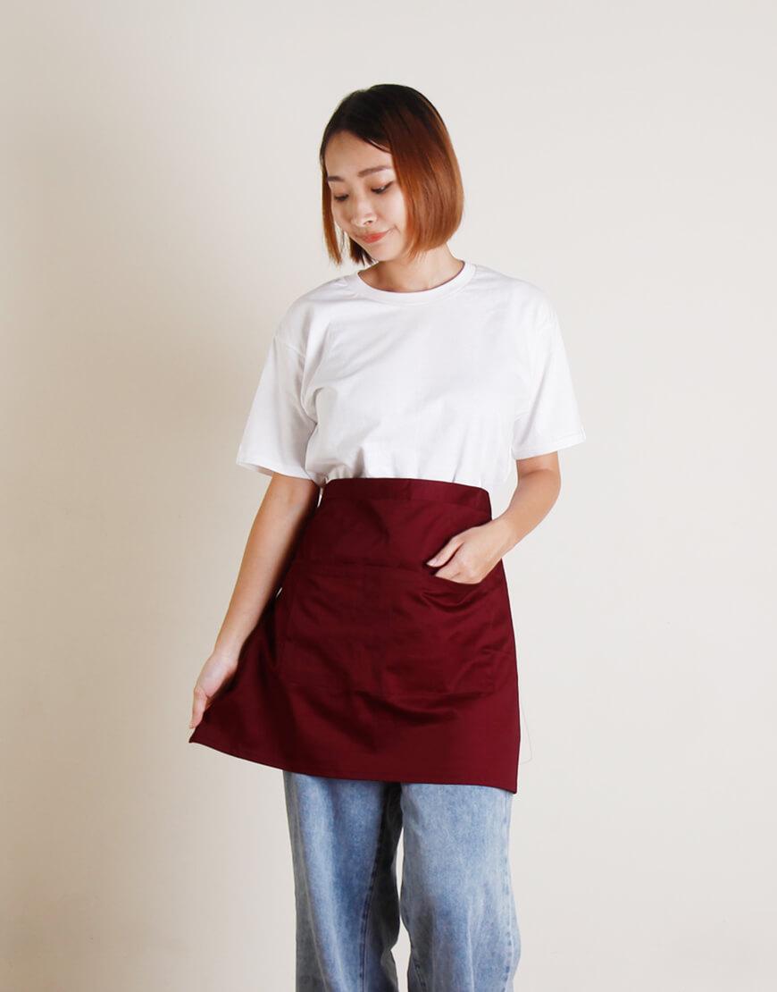 滌帆加厚斜紋雙口袋半身圍裙 - 8色