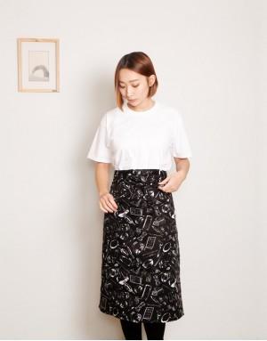 滌綸半身單口袋圍裙 - 黑底白餐具