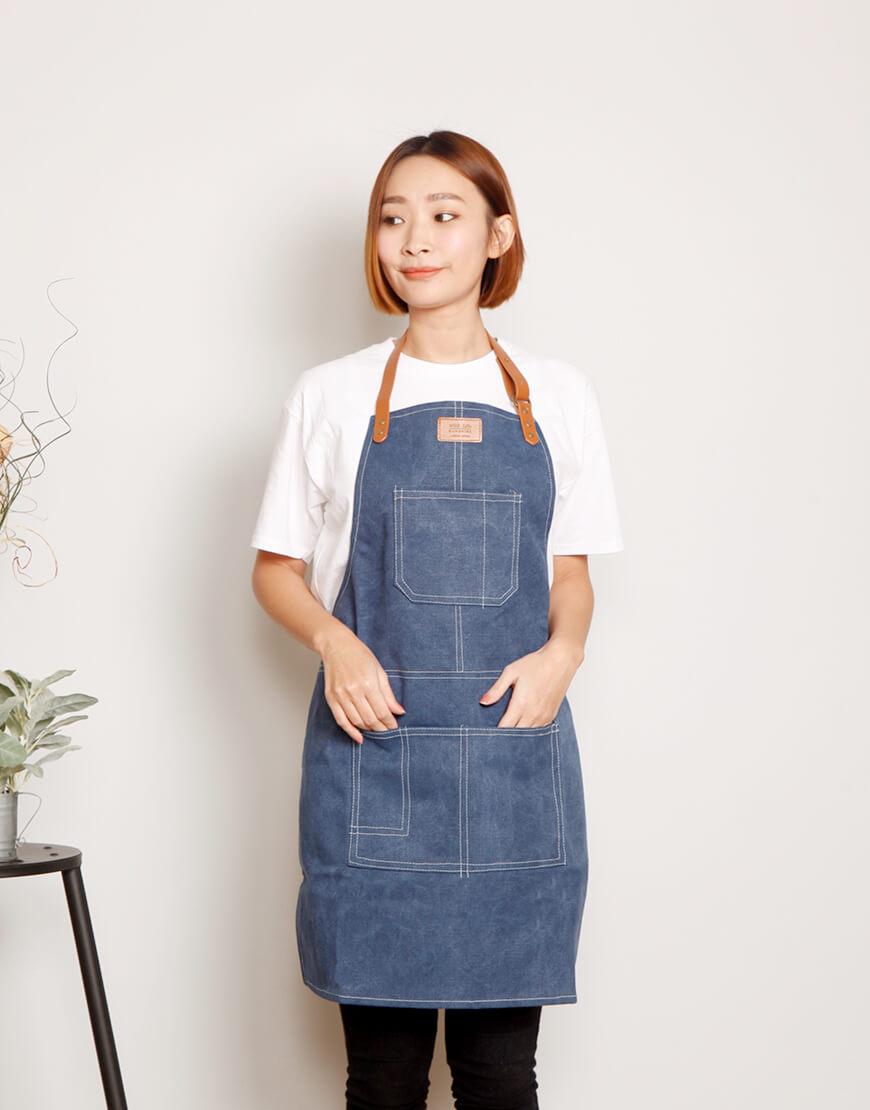 厚帆布人工皮繞頸圍裙 - 4色