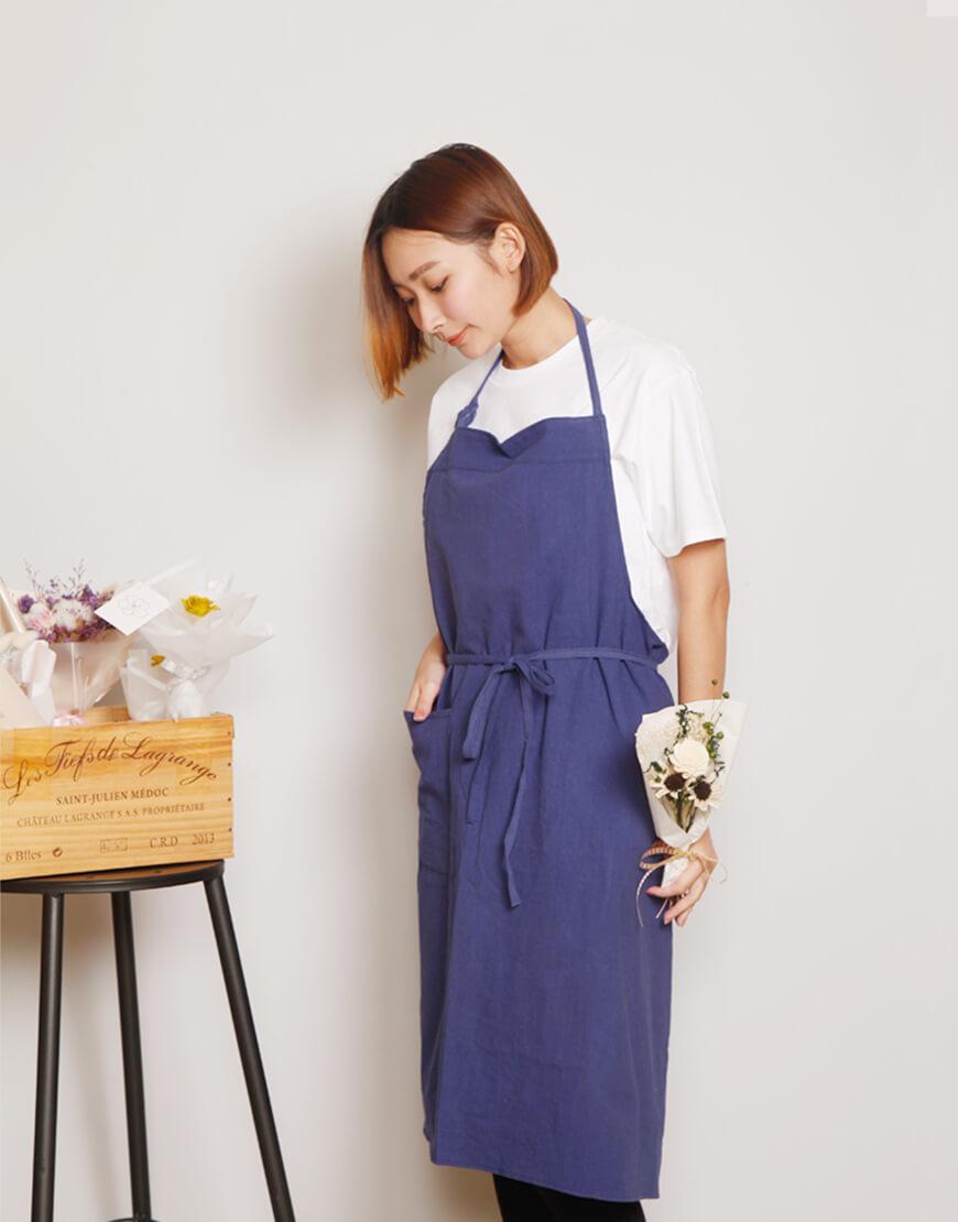 水洗棉日式棉綁繩圍裙