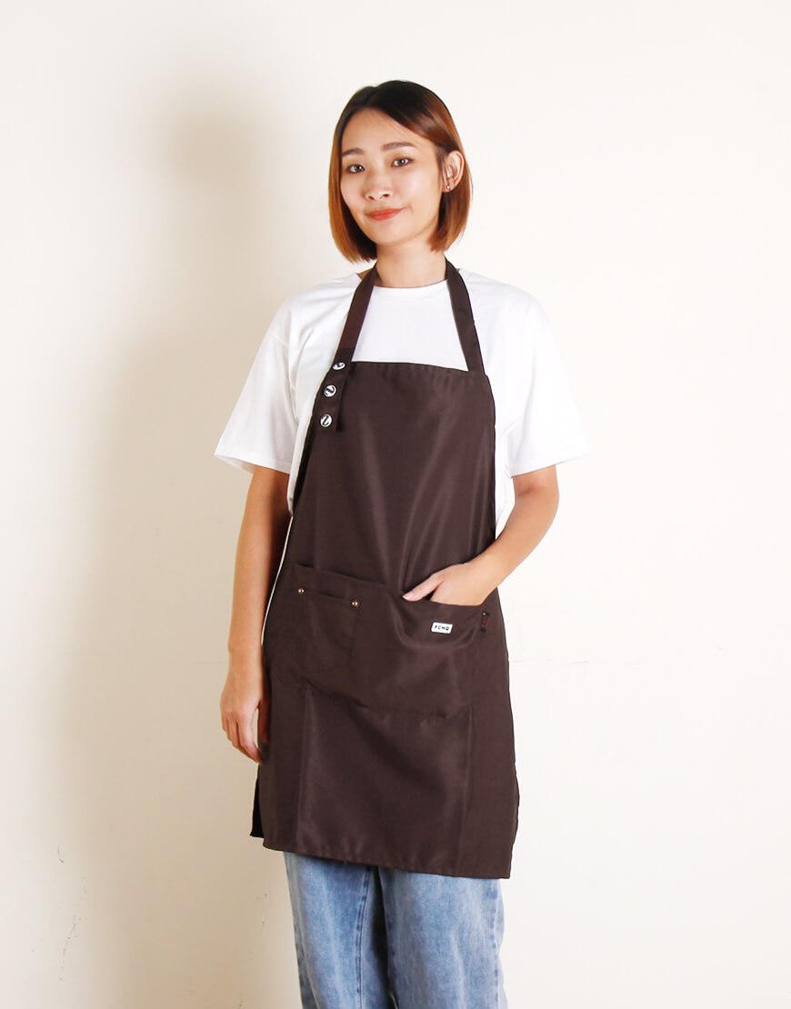 滌棉布單扣繞頸式圍裙 - 3色