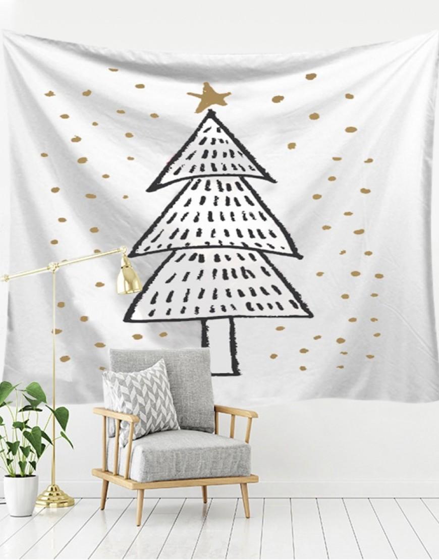 手繪版聖誕樹掛簾