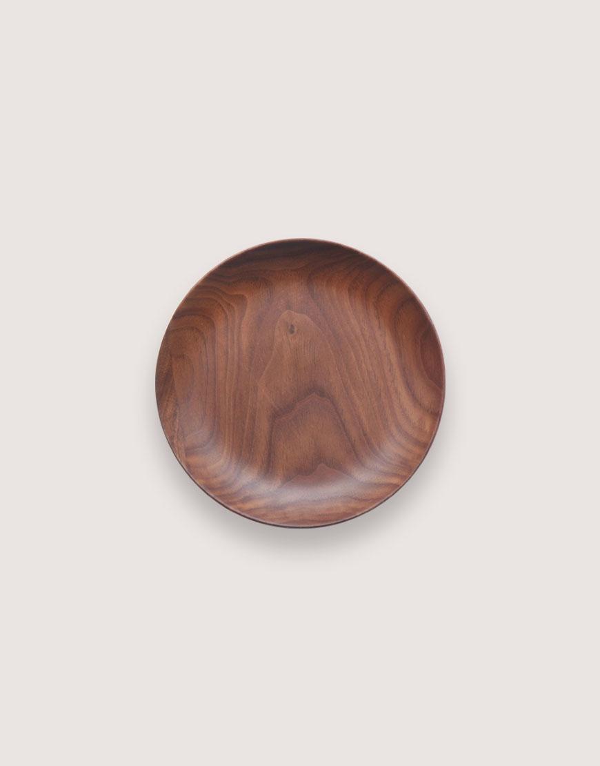 圓型胡桃木盤