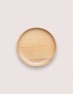 圓形雲杉木盤 - 中