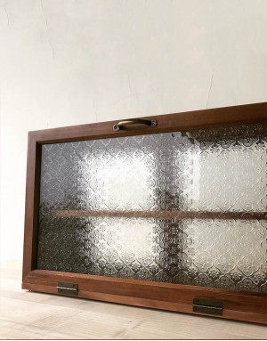 復古海棠玻璃實木點心櫃