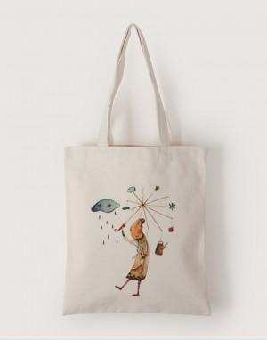 中帆布單層直式袋 - 雨天