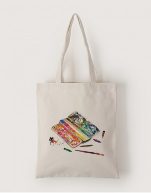 中帆布單層直式袋 - 旅行調色盤