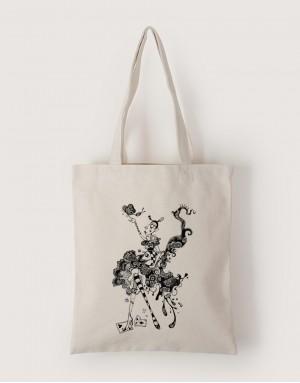 中帆布單層直式袋 - 蝴蝶