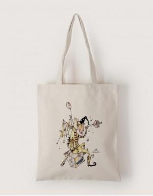 中帆布單層直式袋 - 快樂