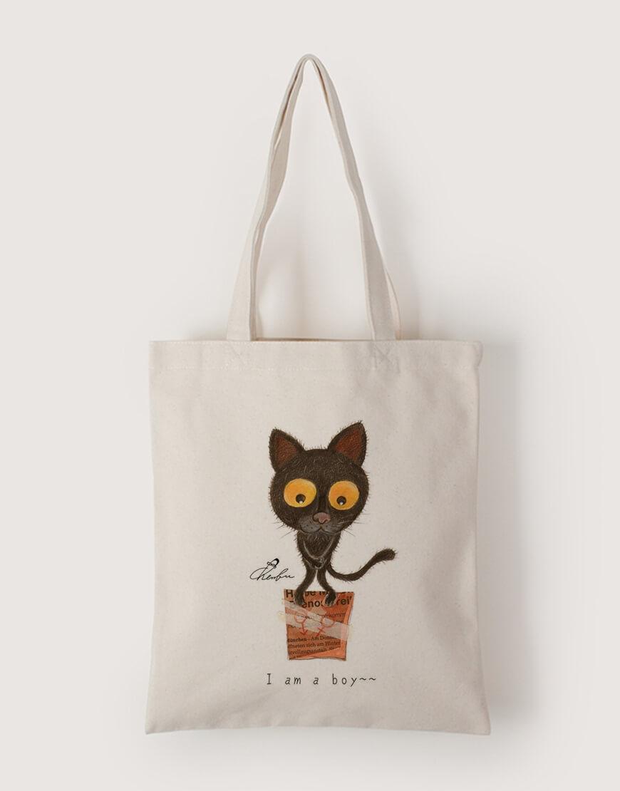中帆布單層直式袋 - 巧克力變性