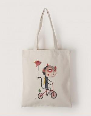 中帆布單層直式袋 - 聖誕猴子