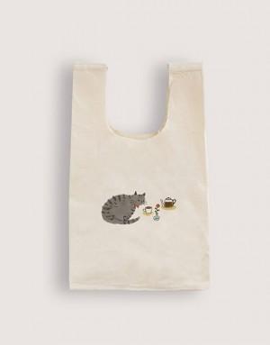 棉布背心袋 - 貓咪咖啡廳