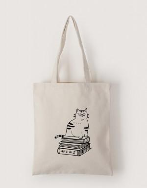 中帆布單層直式袋 - 博士貓