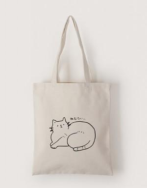 中帆布單層直式袋 - 打盹貓