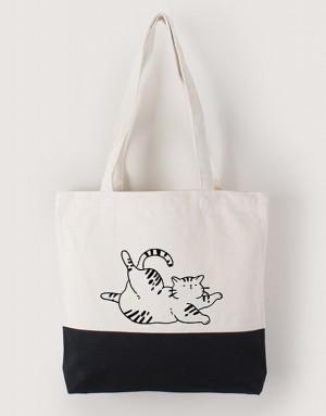 中帆布雙色拼接橫式袋 - ヨガきゃっと / 瑜珈貓