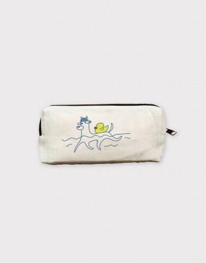 10安中帆布加大筆袋 - 狗狗游泳