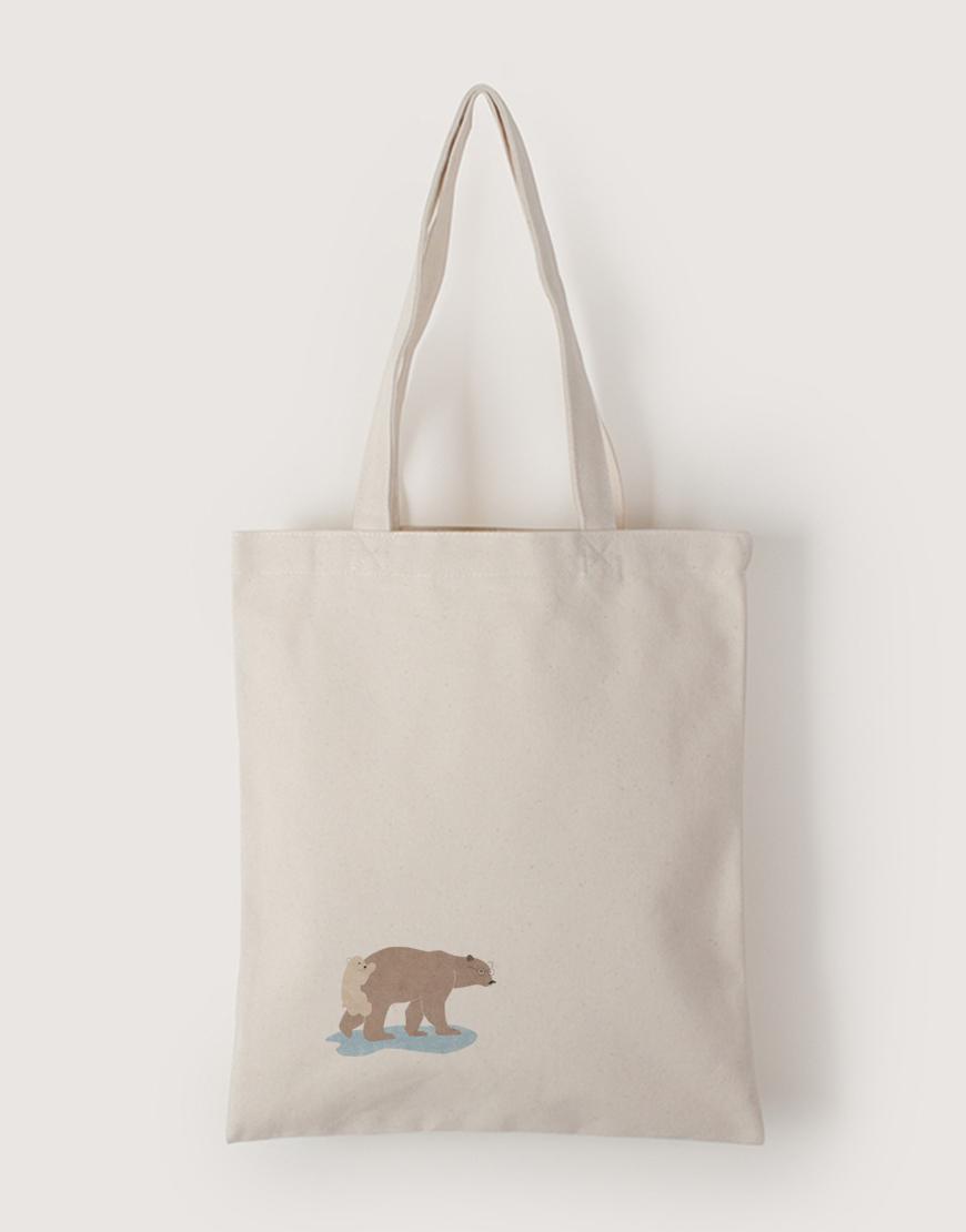 中帆布單層直式袋 - 熊熊渡河