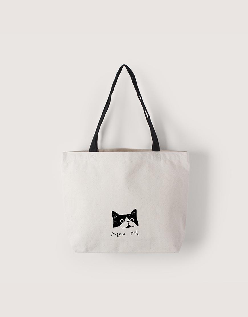 中帆布雙層橫式袋 I 黑提把 I - Meow Me