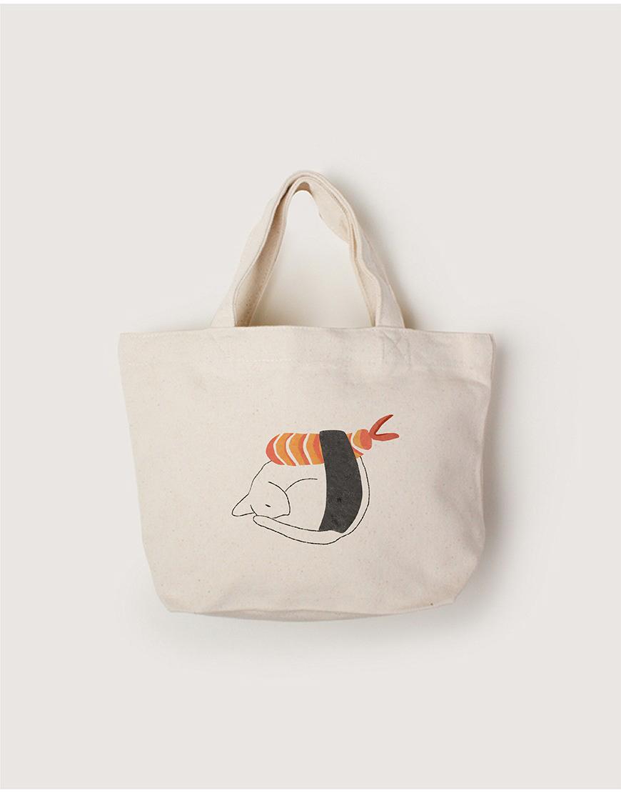中帆布小托特 - 貓捲壽司