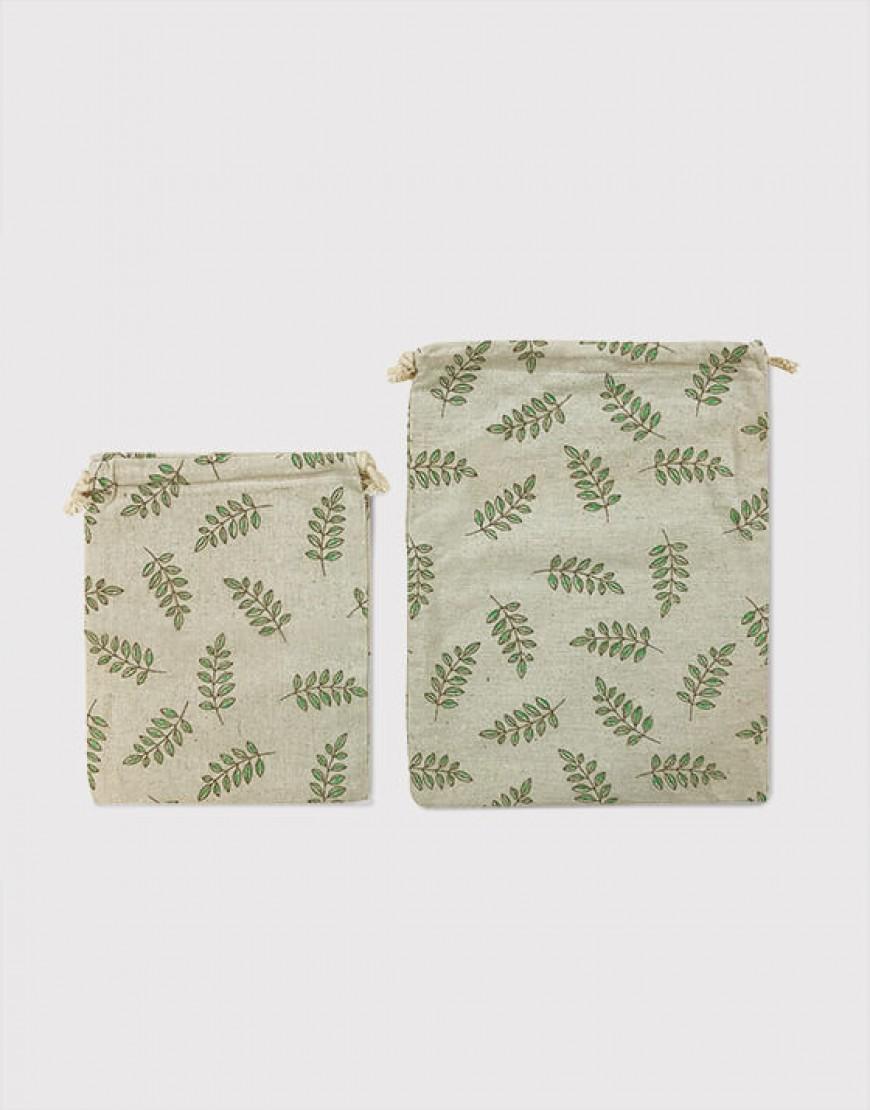 綠葉束口袋 - 2款